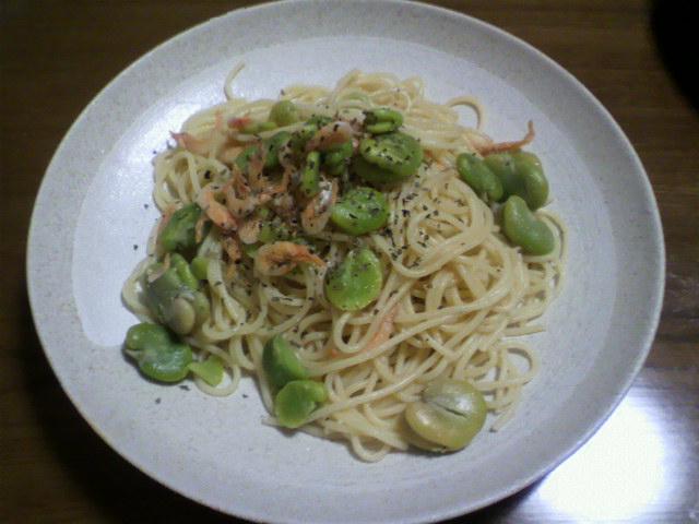 桜エビと空豆のスパゲッティ